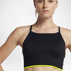 Спортивное бра без косточек с легкой поддержкой Nike SeamlessСпортивное бра без косточек с легкой поддержкой Nike Seamless с бесшовной конструкцией из влагоотводящей ткани обеспечивает абсолютный комфорт во время занятий низкойинтенсивности, таких как велоспорт, тренировки с отягощением и йога.<br>