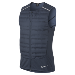 Мужской жилет для бега Nike AeroLoftМужской беговой жилет Nike AeroLoft обеспечивает тепло и вентиляцию в непогоду. Его можно надеть поверх другой одежды, а потом сложить и убрать, если станет слишком жарко. Кроме того, обновленный крой способствует свободе движений.  Комфорт и тепло  Водоотталкивающее покрытие защищает от дождя. Отсеки спереди и по бокам с пуховым наполнителем 800FP. Наполнитель с прочным водоотталкивающим покрытием DWR не сбивается в комки.  Непревзойденная вентиляция  Перфорация между отсеками с наполнителем и на спине пропускает воздух и отводит излишки тепла, обеспечивая эффективную терморегуляцию. Подкладка в области перфорации спереди защищает от ветра.  Легко сложить и носить с собой  Если станет жарко, жилет можно убрать в карман на молнии и зафиксировать с помощью ремешка.<br>