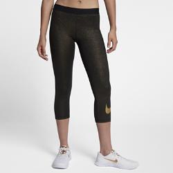 Женские капри для тренинга Nike ProКОМФОРТ В ДВИЖЕНИИ ФУНКЦИОНАЛЬНОСТЬ ДЛЯ БЛЕСТЯЩИХ РЕЗУЛЬТАТОВ  Женские капри для тренинга Nike Pro из влагоотводящей ткани с плотной посадкой и усовершенствованным поясом выгодно подчеркивают фигуру, обеспечивают комфорт и позволяют создавать разные образы для тренировок в зале и игр. Блестящее покрытие по всей поверхности привлечет к тебе внимание во время занятий в зале или студии.  КОМФОРТ И ЗАЩИТА ОТ ВЛАГИ  Технология Dri-FIT отводит влагу от кожи на поверхность ткани, обеспечивая комфорт во время тренировки.  ТОЧНОСТЬ ДВИЖЕНИЙ  Эластичная плотно прилегающая ткань не сковывает движения. Минималистичные швы не натирают кожу, помогая сосредоточиться на тренировке или соревновании.<br>