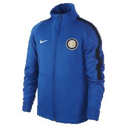 Футбольная куртка для школьников Inter Milan FranchiseФутбольная куртка для школьников Inter Milan Franchise из мягкой и прочной ткани двойного переплетения с фирменными деталями обеспечивает комфорт на весь день.<br>