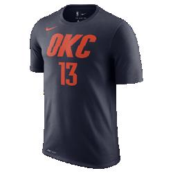 Мужская футболка НБА Paul George Oklahoma City Thunder Nike DryМужская футболка НБА Oklahoma City Thunder Nike Dry из влагоотводящей ткани Dri-FIT обеспечивает комфорт во время игры и на каждый день. Преимущества  Ткань Nike Dry отводит влагу и обеспечивает комфорт Горловина из рубчатой ткани для дополнительной прочности  Информация о товаре  Состав: 58% хлопок/42% полиэстер Машинная стирка Импорт<br>
