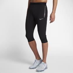 Мужские беговые брюки длиной 3/4 Nike SwiftМужские беговые брюки Nike Swift позволяют ощущать комфорт, когда ты выходишь на пробежку, занимаешься повседневными делами или встречаешься с друзьями. Легкие эластичные материалы повторяют движения тела и отводят влагу, обеспечивая длительный комфорт.  УНИВЕРСАЛЬНЫЙ ДИЗАЙН  Благодаря свободному крою от бедер до колен и менее облегающей посадке по сравнению с традиционными беговыми тайтсами можно не переодеваться после пробежки. Эластичная поддерживающая ткань Nike Power плотно прилегает в верхней части икр, не смещаясь и не мешая во время движения.  ИННОВАЦИОННЫЕ КАРМАНЫ  Удобное расположение заднего кармана позволяет не вытаскивать телефон из кармана, даже когда ты сидишь. Специальный барьер предотвращает попадание влаги. Боковыекарманы на молнии, прикрепленные к изнаночной стороне брюк, позволяют надежно хранить ключи, бумажник и прочие важные мелочи.  КОМФОРТ  Технология Dri-FIT обеспечивает прохладу и комфорт, выводя влагу на поверхность ткани, откуда она быстро испаряется.<br>