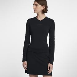 Женская футболка для гольфа с длинным рукавом Nike DryЖенская футболка для гольфа с длинным рукавом Nike Dry из теплой влагоотводящей ткани обеспечивает комфорт во время игры.<br>