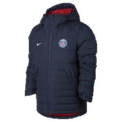 Мужская куртка Paris Saint-GermainМужская куртка Paris Saint-Germain с пуховым наполнителем и регулируемым капюшоном обеспечивает тепло и дополнительную защиту в холодную погоду.<br>