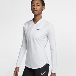 Женская теннисная футболка с молнией до середины груди NikeCourt PureЖенская теннисная футболка с молнией до середины груди NikeCourt Pure из эластичной влагоотводящей ткани с рукавами покроя реглан обеспечивает комфорт и свободу движений во время игры.<br>