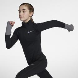 Беговая футболка с длинным рукавом для девочек школьного возраста Nike Dry ElementБеговая футболка с длинным рукавом для девочек школьного возраста Nike Dry Element из влагоотводящей ткани и сетки обеспечивает вентиляцию и комфорт. Длинные рукава с отверстиями для больших пальцев повторяют форму руки и кисти для комфортной защиты и свободы движений во время бега.<br>