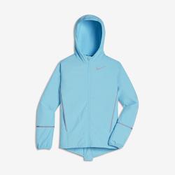 Беговая куртка для девочек школьного возраста NikeБеговая куртка для девочек школьного возраста Nike из легких влагонепроницаемых материалов позволяет бегать в дождливую погоду с комфортом.<br>