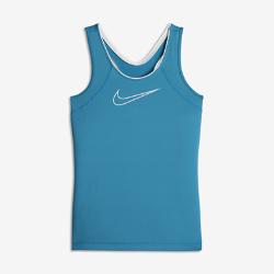 Майка для тренинга для девочек школьного возраста Nike ProМайка для тренинга для девочек школьного возраста Nike Pro из дышащей эластичной ткани Dri-FIT обеспечивает комфорт и вентиляцию во время тренировки или подготовки к игре.<br>