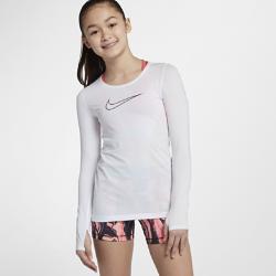 Футболка с длинным рукавом для девочек школьного возраста Nike ProФутболка с длинным рукавом для девочек школьного возраста Nike Pro из влагоотводящей ткани c сетчатой структурой обеспечивает охлаждение и комфорт во время тренировок и игр с друзьями.<br>