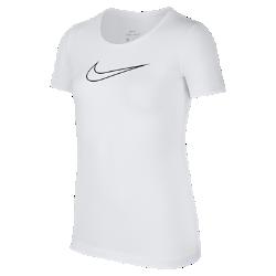Футболка с коротким рукавом для девочек школьного возраста Nike ProФутболка с коротким рукавом для девочек школьного возраста Nike Pro из влагоотводящей ткани с сетчатой структурой обеспечивает охлаждение и комфорт во время тренировок и игр с друзьями.<br>