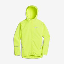 Беговая куртка для мальчиков школьного возраста Nike RunБеговая куртка для мальчиков школьного возраста Nike Run из влагонепроницаемой ткани с удлиненной сзади нижней кромкой обеспечивает комфорт и защиту во время бега в непогоду.<br>
