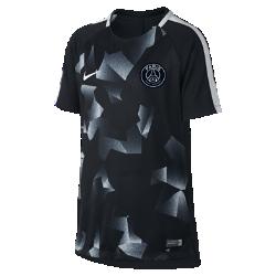 Игровая футболка с коротким рукавом для школьников Paris Saint-Germain SquadИгровая футболка с коротким рукавом для школьников Paris Saint-Germain Squad из легкой влагоотводящей ткани с анатомическими швами обеспечивает комфорт на поле и на трибунах.<br>