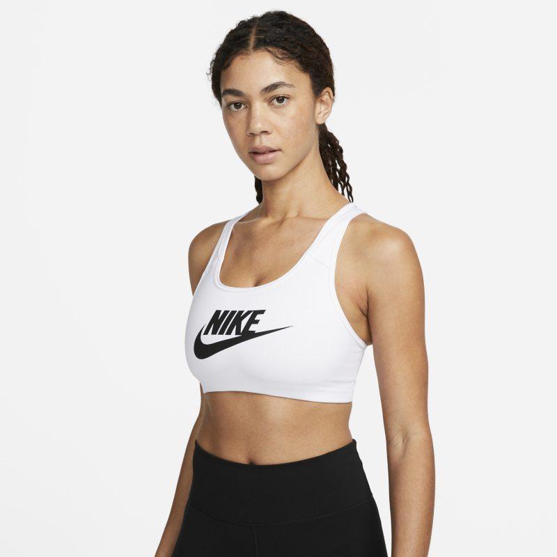 Nike Classic Swoosh Futura Sujetador deportivo de sujeción media - Mujer - Blanco