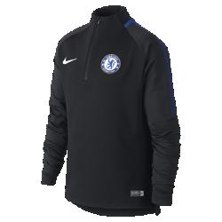 Игровая футболка для школьников Chelsea FC Dri-FIT Squad DrillИгровая футболка для школьников Chelsea FC Dri-FIT Squad Drill из эластичной влагоотводящей ткани с рукавами покроя реглан обеспечивает комфорт и свободу движений на поле.<br>