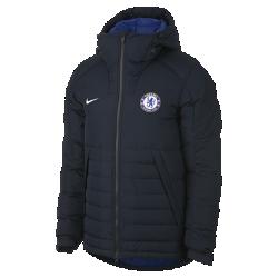 Мужская куртка Chelsea FCМужская куртка Chelsea FC с пуховым наполнителем и регулируемым капюшоном обеспечивает тепло и дополнительную защиту в холодную погоду.<br>