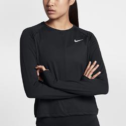 Женская беговая футболка с длинным рукавом Nike ElementЖенская беговая футболка с длинным рукавом Nike Element идеально подходит для пробежек в прохладную погоду, сохраняя тепло и препятствуя перегреву.  Комфорт  Отверстия для больших пальцев фиксируют рукава для дополнительной защиты в холодную погоду. Рукава покроя реглан и швы, повторяющие форму рук, для естественной свободы движений.  Отведение влаги  Мягкая ткань с технологией Dri-FIT отводит влагу от кожи на поверхность ткани, где она быстро испаряется.<br>