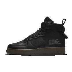 Мужские кроссовки Nike SF Air Force 1 MidМужские кроссовки Nike SF Air Force 1 Mid сочетают практичность армейской экипировки с классическим баскетбольным стилем. Баллистический нейлон и первоклассная кожа сочетаются с удобной двойной молнией на пятке.  Универсальность  Стандартн ы е шнурки, ремешок в области голеностопа и двойная молния на пятке образуют динамическую систему фиксации. Благодаря этому можно регулировать плотность посадки.  Прочные материалы  Область пятки и язычок выполнены из баллистического материала на основе нейлона. Это делает ботинки прочными и гибкими, а также придает модели вид армейской обуви.<br>