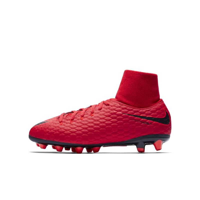 Nike Jr. Hypervenom Phelon III Dynamic Fit AG-PRO Younger/Older Kids'Artificial-Grass Football Boot - Red