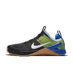 Мужские кроссовки для кросс-тренинга и тяжелой атлетики Nike Metcon DSX Flyknit 2Мужские кроссовки для кросс-тренинга и тяжелой атлетики Metcon DSX Flyknit 2 обеспечивают потрясающую стабилизацию, гибкость, поддержку, легкость и прочность для тренировок разных видов — от коротких пробежек и толкания салазок до тяжелой атлетики и упражнений на канате.  Безупречная посадка  Верх из дышащего эластичного материала Flyknit обеспечивает поддержку и плотную удобную посадку. Сверхпрочные нити Flywire интегрированы со шнуровкой для надежной фиксации стопы.  Гибкость и поддержка  Скрытая подошва более твердая в области пятки и более мягкая в передней части, что обеспечивает стабилизацию для поднятия веса, а также гибкость и амортизацию для коротких забегов.  Прочность и стабилизация  Плоская устойчивая платформа позволяет чувствовать поверхность под ногами во время упражнений с весом и высокоинтенсивных тренировок.<br>