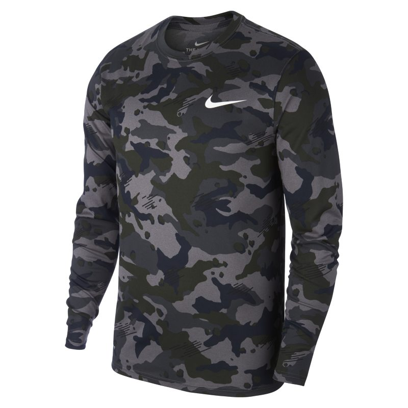009937b06d9d20 Nike Dri-FIT Legend Men's Long-Sleeve Camo Training Top - Grey Image