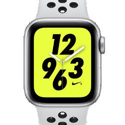 <ナイキ(NIKE)公式ストア>アップル ウォッチ ナイキ+ シリーズ 4 (GPS + Cellular) とナイキ スポーツバンド 40mm スポーツウォッチ AP0315-002 シルバー★11/23から29日の7日間限定、ブラックフライデー キャンペーン中!画像