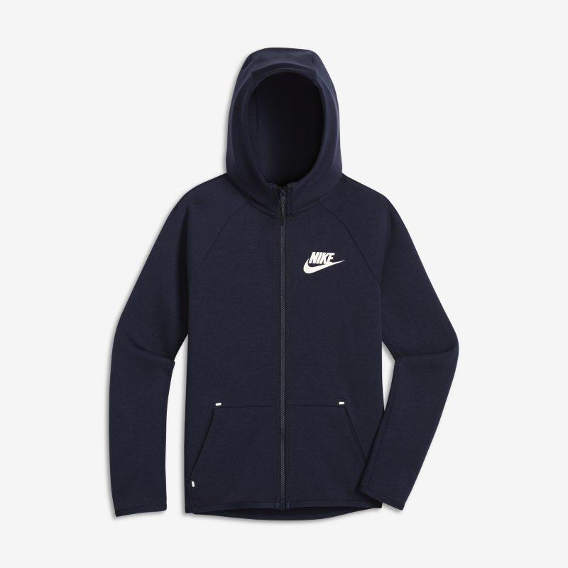 Nike Sportswear Tech Fleece Tam Boy Fermuarlı Genç Çocuk (Erkek) Kapüşonlu Üst  AR4020-451 -  Mavi XL Beden Ürün Resmi