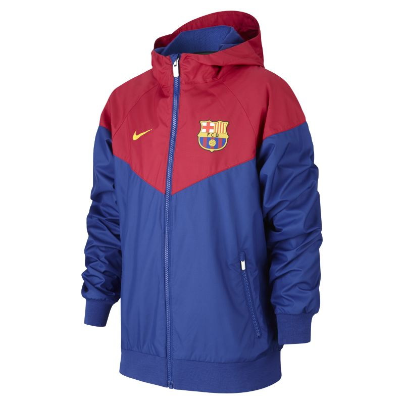 Nike FC Barcelona Windrunner Older Kids'Jacket - Blue Image