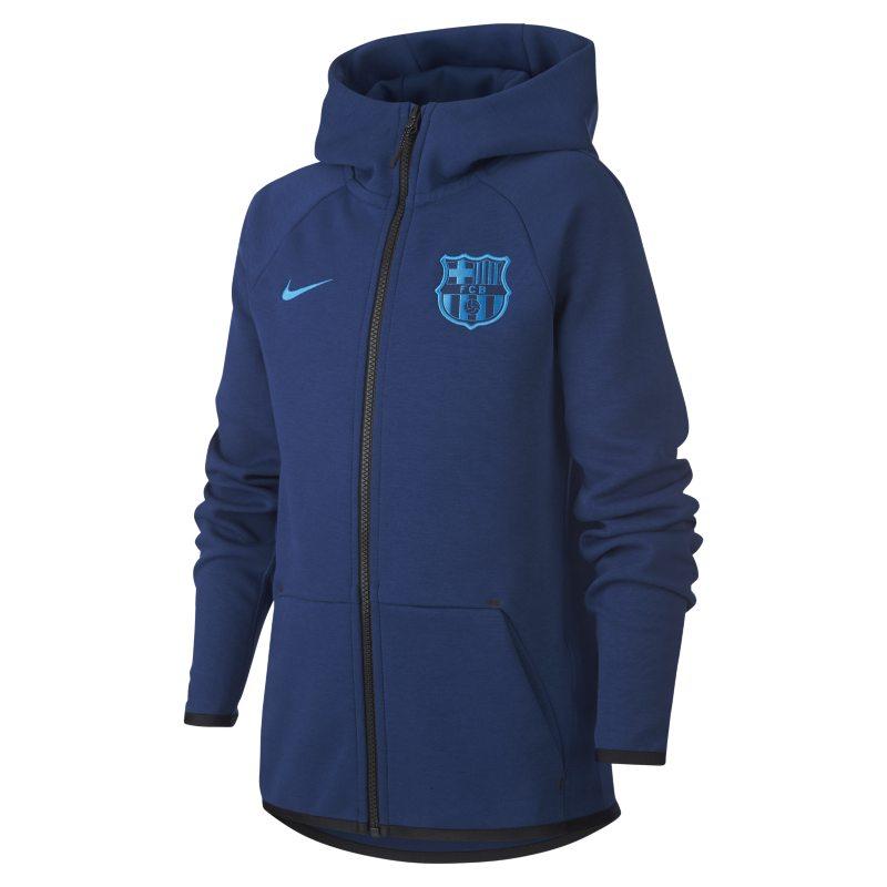 FC Barcelona Tech Fleece Tam Boy Fermuarlı Genç Çocuk Kapüşonlu Üst  BV0202-407 -  Mavi XL Beden Ürün Resmi