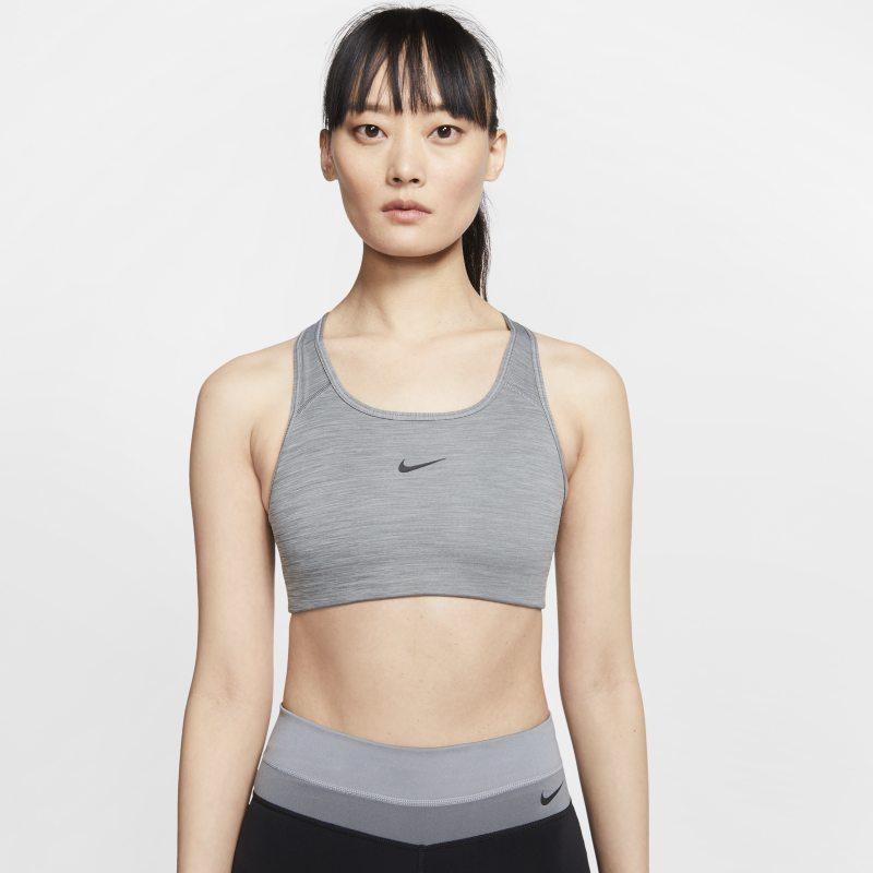 Nike Dri-FIT Swoosh Sujetador deportivo de sujeción media con almohadilla de una sola pieza - Mujer - Gris
