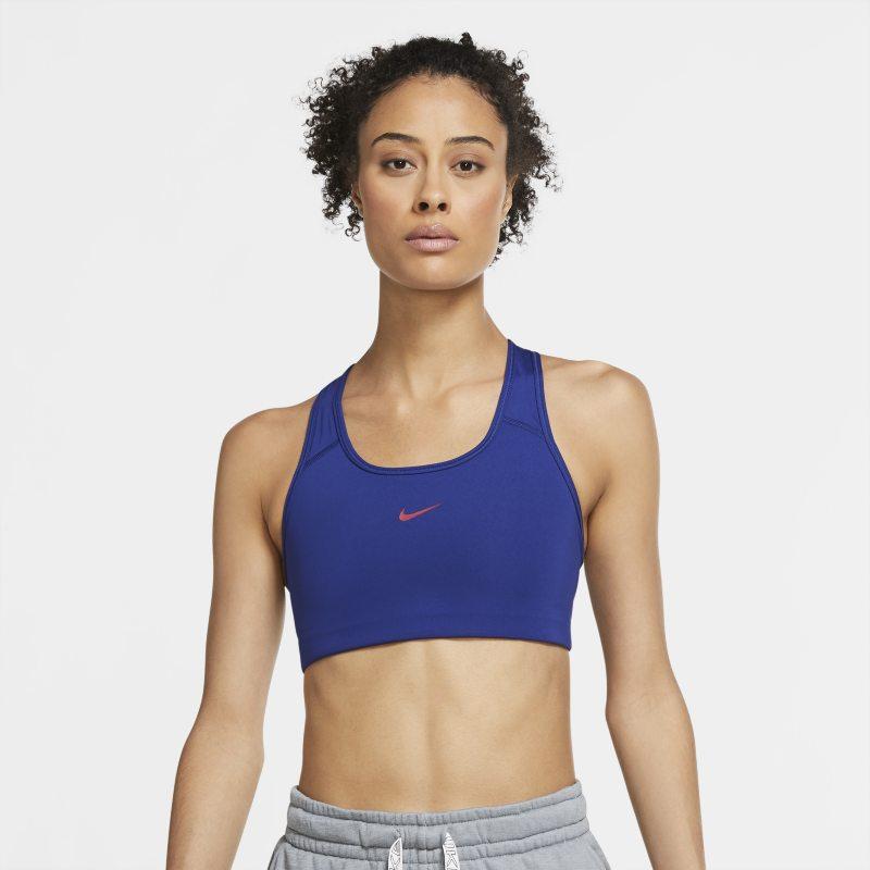 Nike Swoosh Sujetador deportivo de sujeción media con almohadilla de una sola pieza - Mujer - Azul