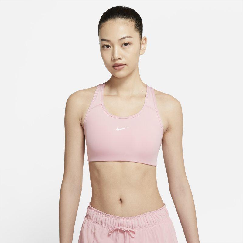 Nike Dri-FIT Swoosh Sujetador deportivo de sujeción media con almohadilla de una sola pieza - Mujer - Rosa