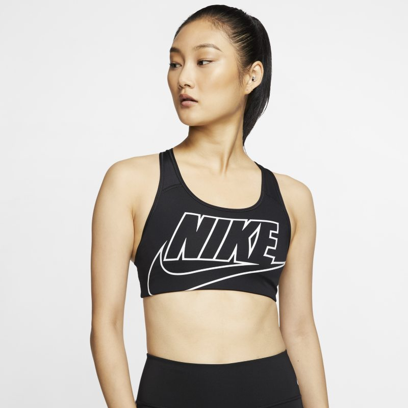 Nike Swoosh Sujetador deportivo de sujeción media sin acolchado con logotipo - Mujer - Negro