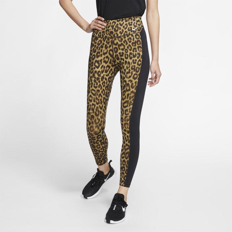 Nike One Mallas de 7/8 con estampado de leopardo - Mujer - Oro