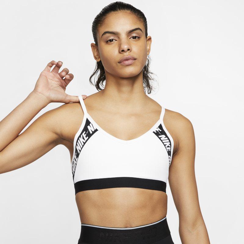 Nike Dri-FIT Indy Sujetador deportivo de sujeción ligera con acolchado y logotipo - Mujer - Blanco