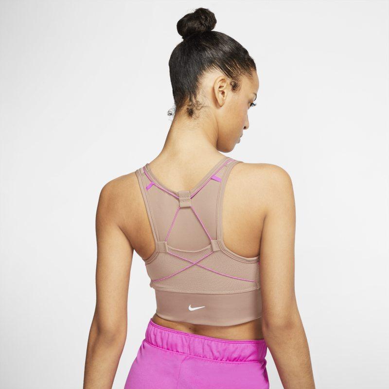 Nike Swoosh Icon Clash Sujetador deportivo de sujeción media con bolsillo - Mujer - Marrón