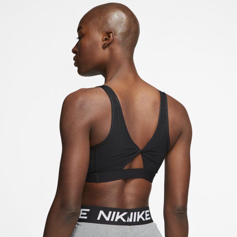 Nike Yoga Sujetador deportivo de sujeción ligera con abertura retorcida y almohadilla - Mujer - Negro