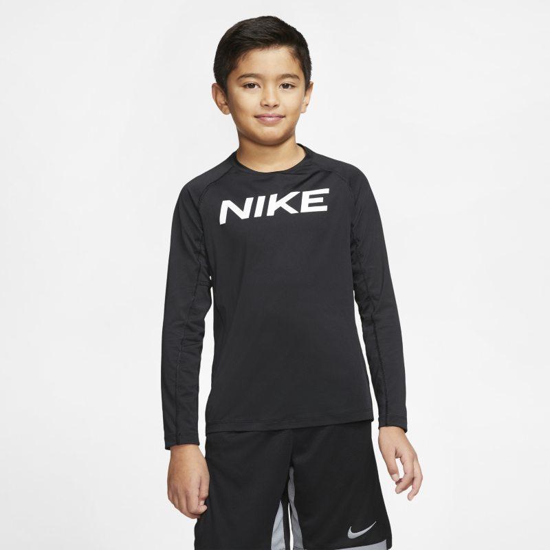 Nike Pro Trainingstop met lange mouwen voor jongens - Zwart