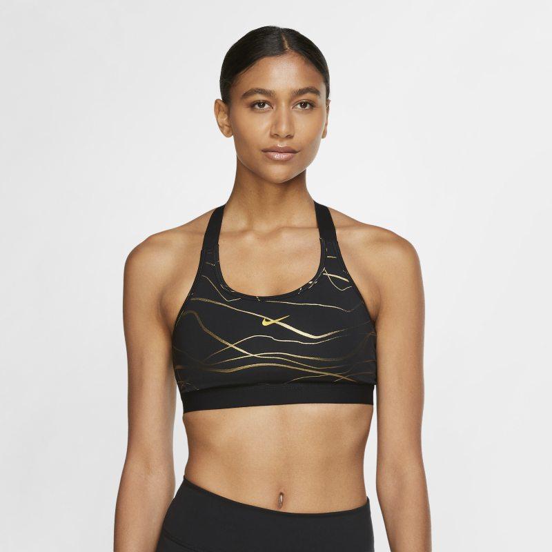 Nike Swoosh Icon Clash Sujetador deportivo de sujeción media con almohadilla de una sola pieza y estampado - Mujer - Negro