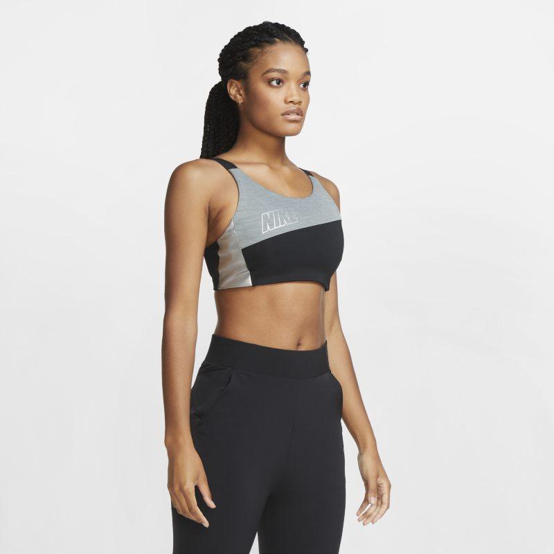 Nike Swoosh Sujetador deportivo metalizado de sujeción media - Mujer - Negro