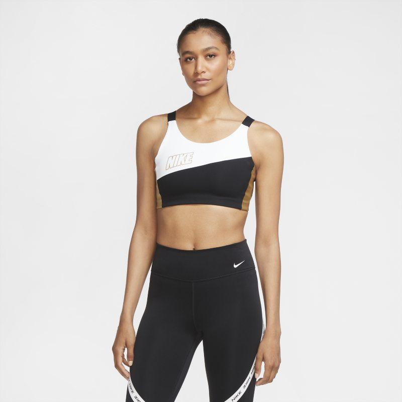 Nike Swoosh Sujetador deportivo metalizado de sujeción media - Mujer - Blanco