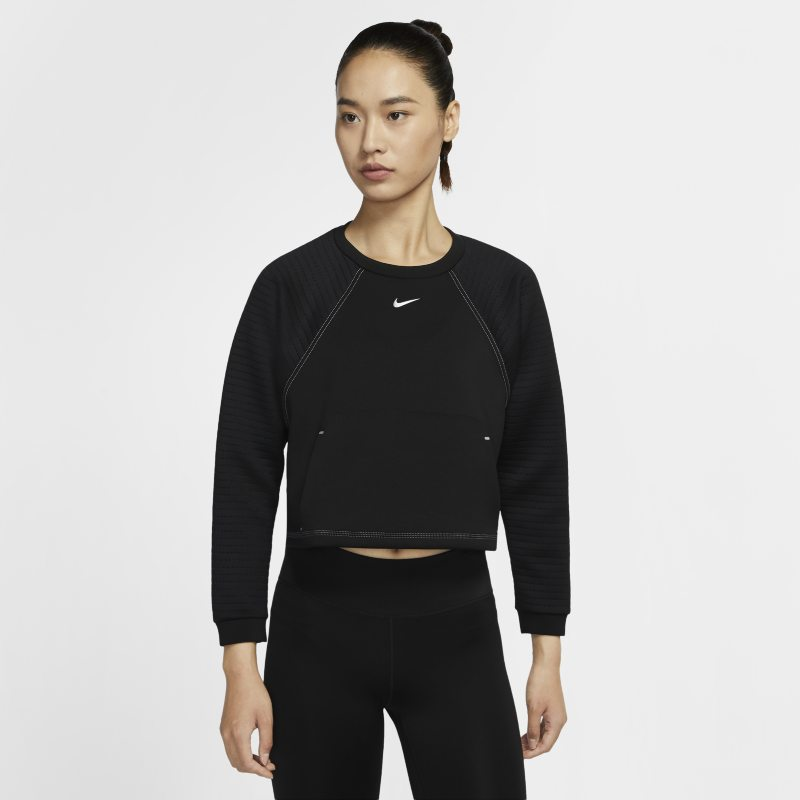 Nike Pro Fleecetop met ronde hals voor dames - Zwart