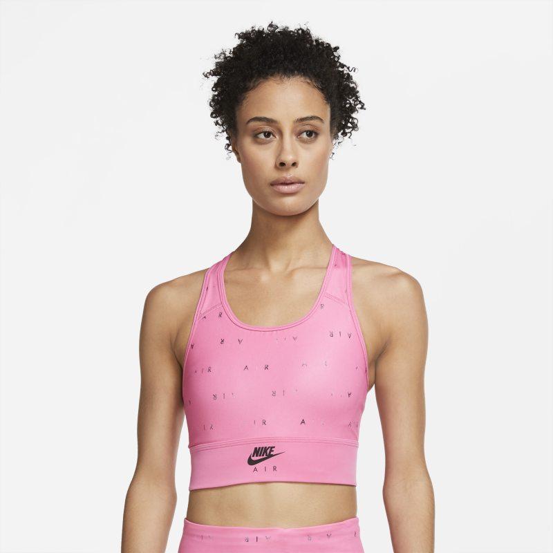 Nike Air Swoosh Sujetador deportivo largo de sujeción media con almohadilla de una sola pieza y estampado - Mujer - Rosa