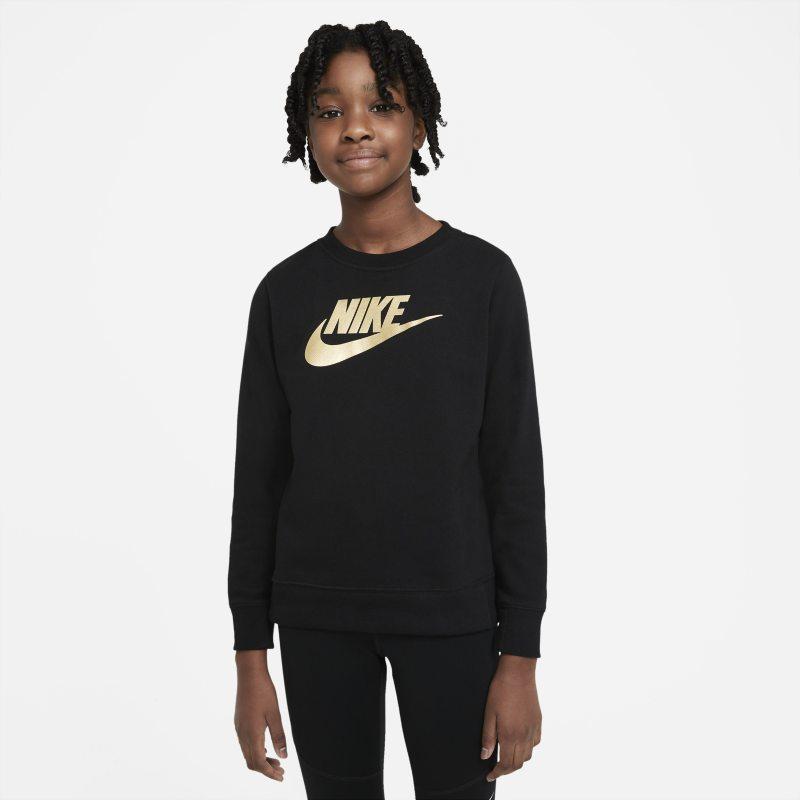 Nike Sportswear Meisjesshirt van sweatstof met ronde hals - Zwart