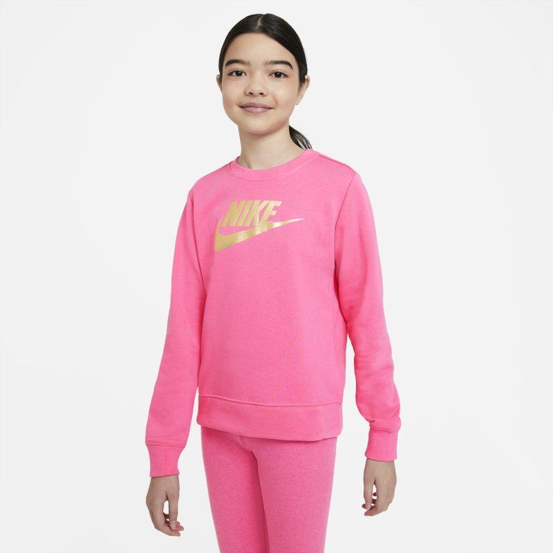 Nike Sportswear Meisjesshirt van sweatstof met ronde hals - Roze