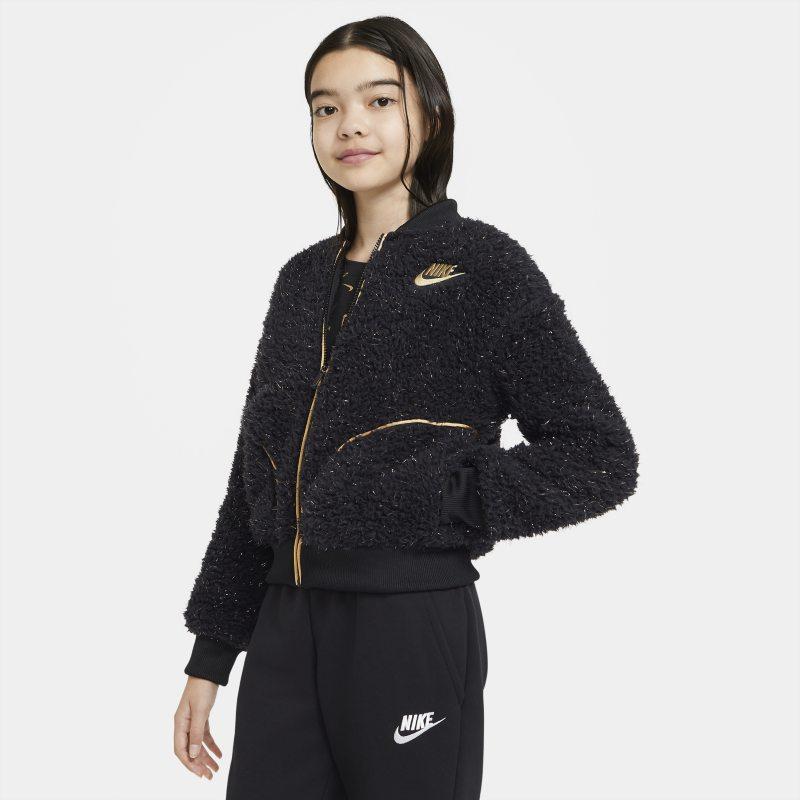 Nike Sportswear Sherpajack met rits voor meisjes - Zwart