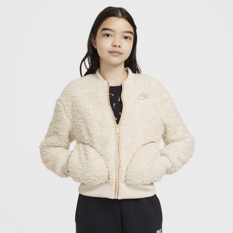 Nike Sportswear Sherpajack met rits voor meisjes - Wit