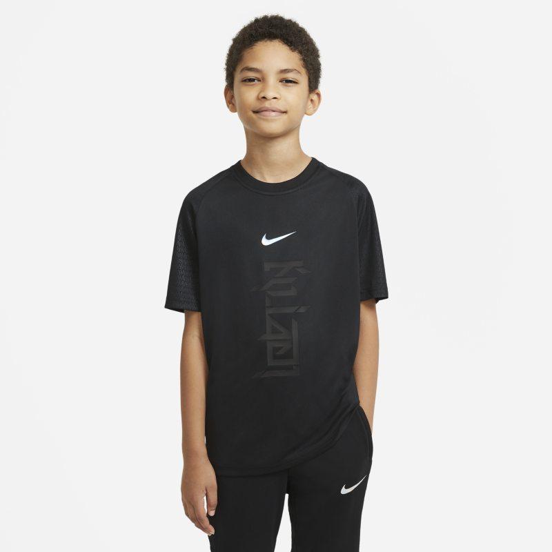 Nike Dri-FIT Kylian Mbappé Voetbaltop met korte mouwen voor kids - Zwart