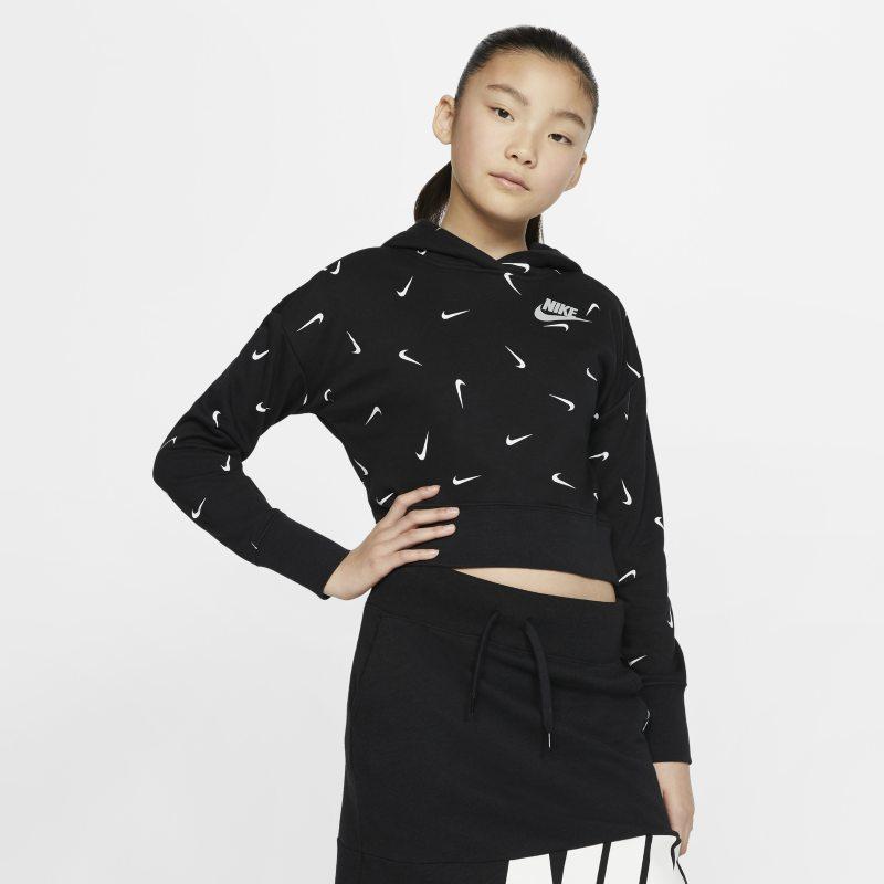 Nike Sportswear Korte hoodie van sweatstof voor meisjes - Zwart