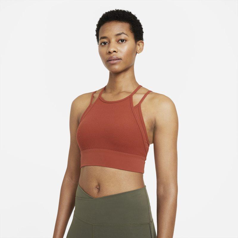 Nike Yoga Dri-FIT Indy Sujetador deportivo de sujeción ligera con acolchado y escote alto - Mujer - Naranja