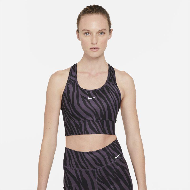 Nike Dri-FIT Swoosh Icon Clash Sujetador deportivo de sujeción media con almohadilla de una sola pieza y escote alto - Mujer - Morado